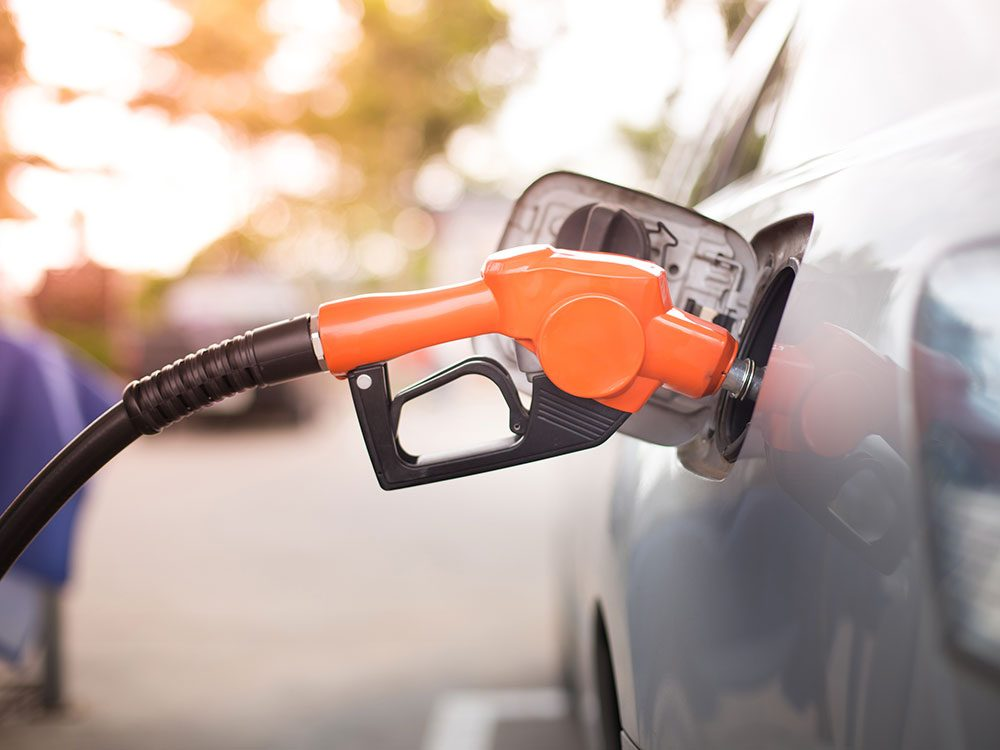 Filling up a car with gas
