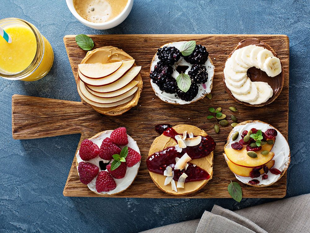 Bagels with assorted fruit toppings
