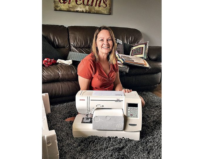 Eldora Bailie with her new sewing machine