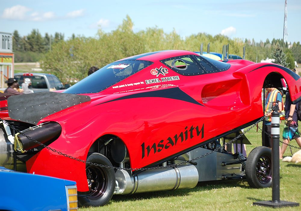 Red car with jet engines