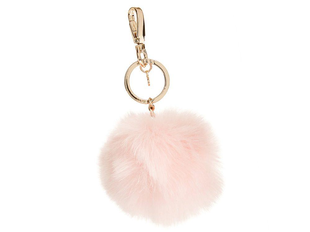 Pink pompom keychain