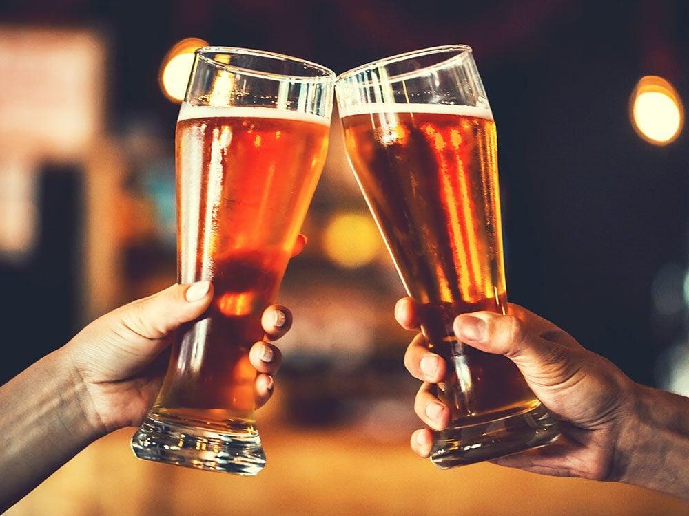Pints of cider at the bar
