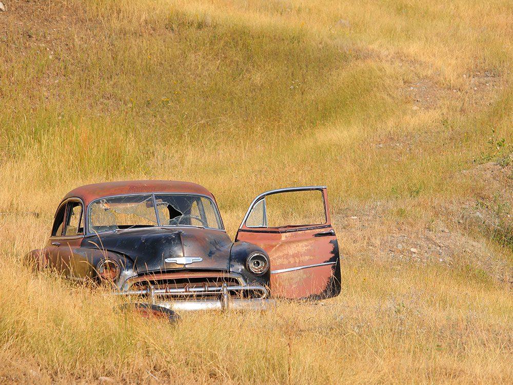 Bullet-riddled car