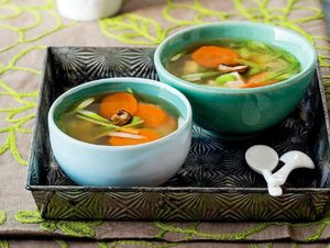 Japanese Tofu Miso Soup with Edamame and Ginger