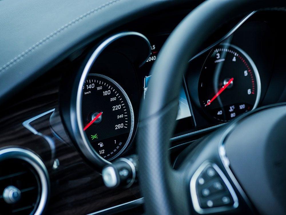 Speedometer of luxury car