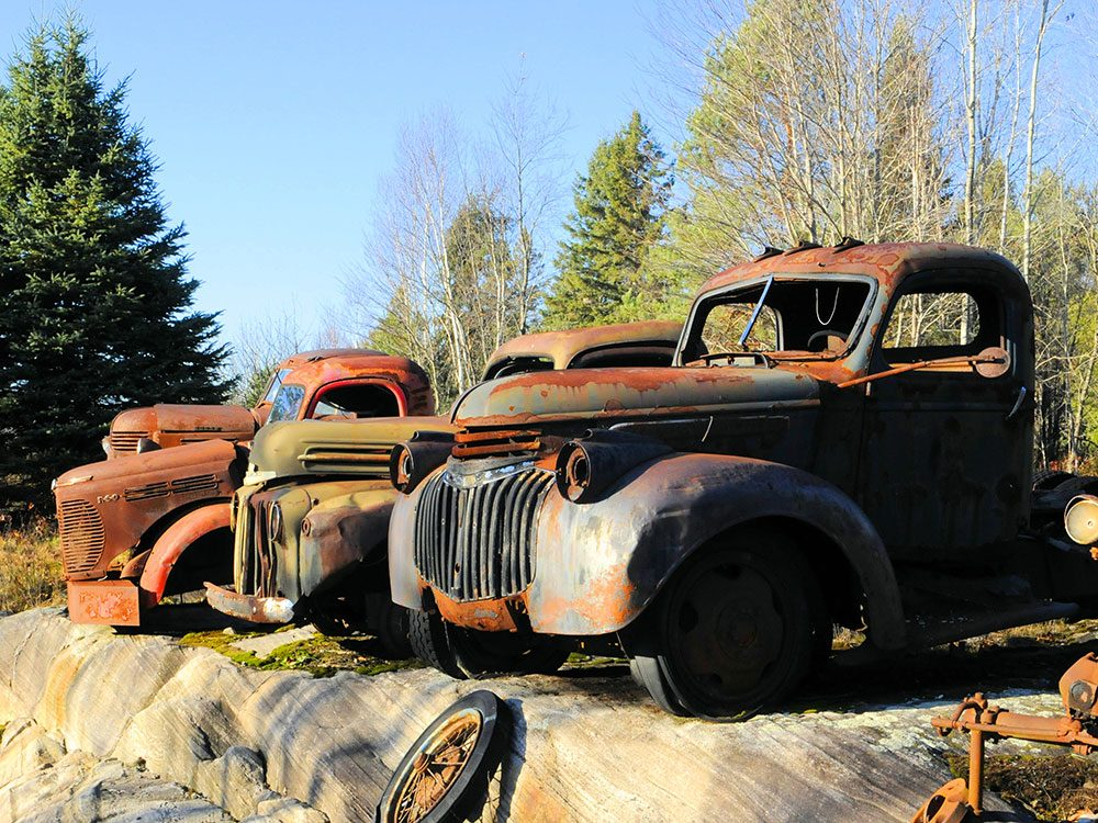 Old cars on Canadian Shield
