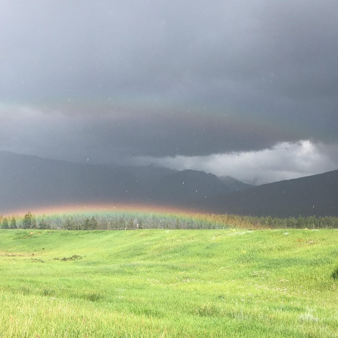 Rainbow photography in Jasper National Park