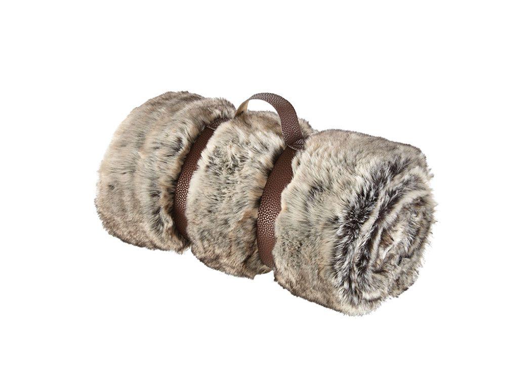 Faux fur blanket, rolled