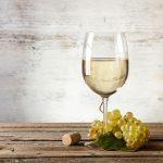 White wine on vintage table