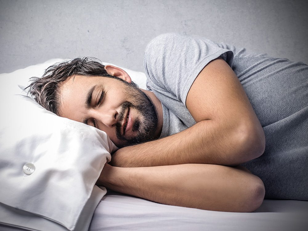 Bearded man sleeping