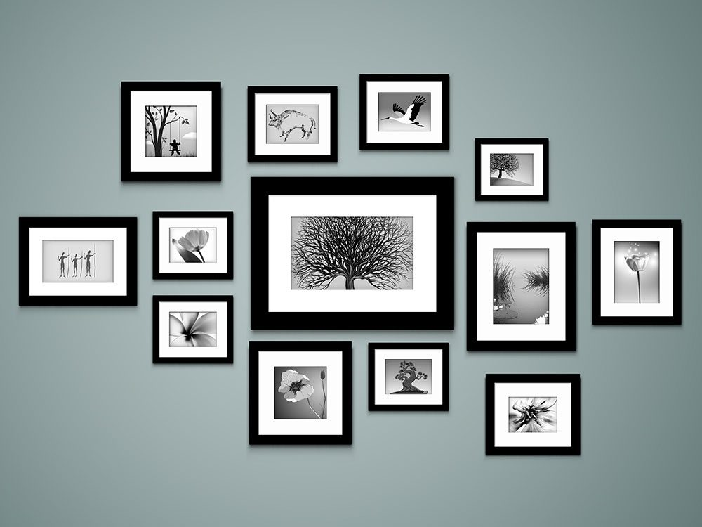 Art prints hanging on a wall
