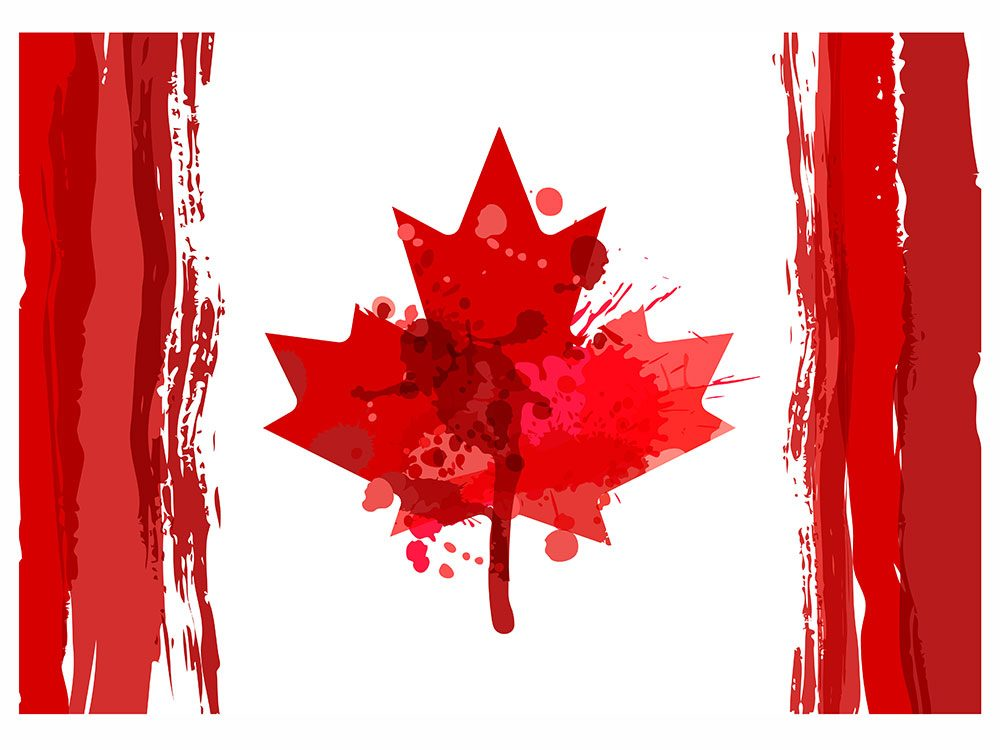 Watercolour Canadian flag
