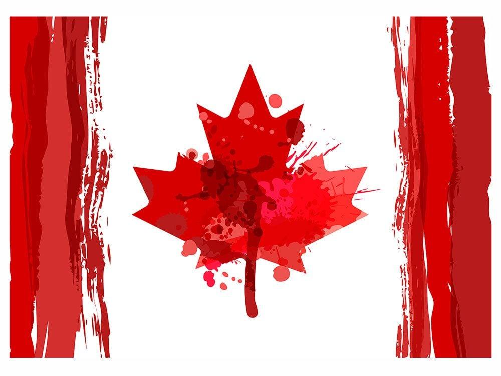 Watercolour Canadian flag