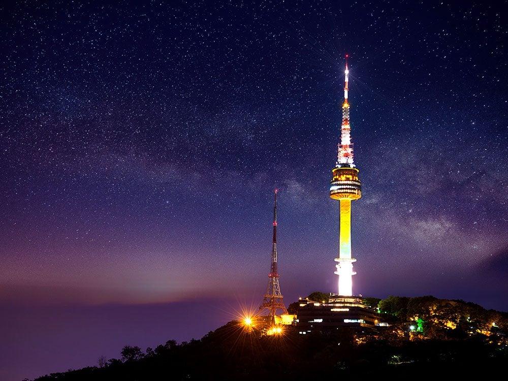 N Seoul Tower at night