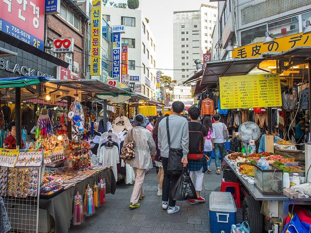 Shoppers in Seoul's Namdaemun Market