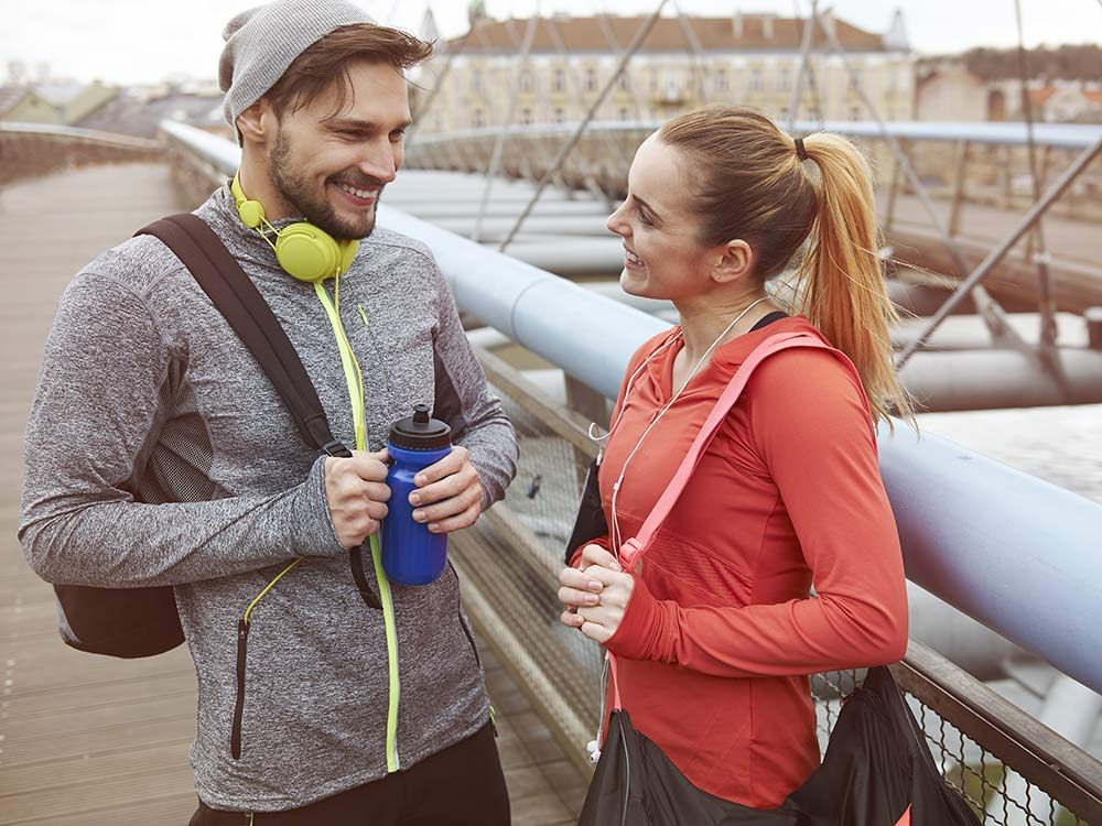 Friends talking after exercising