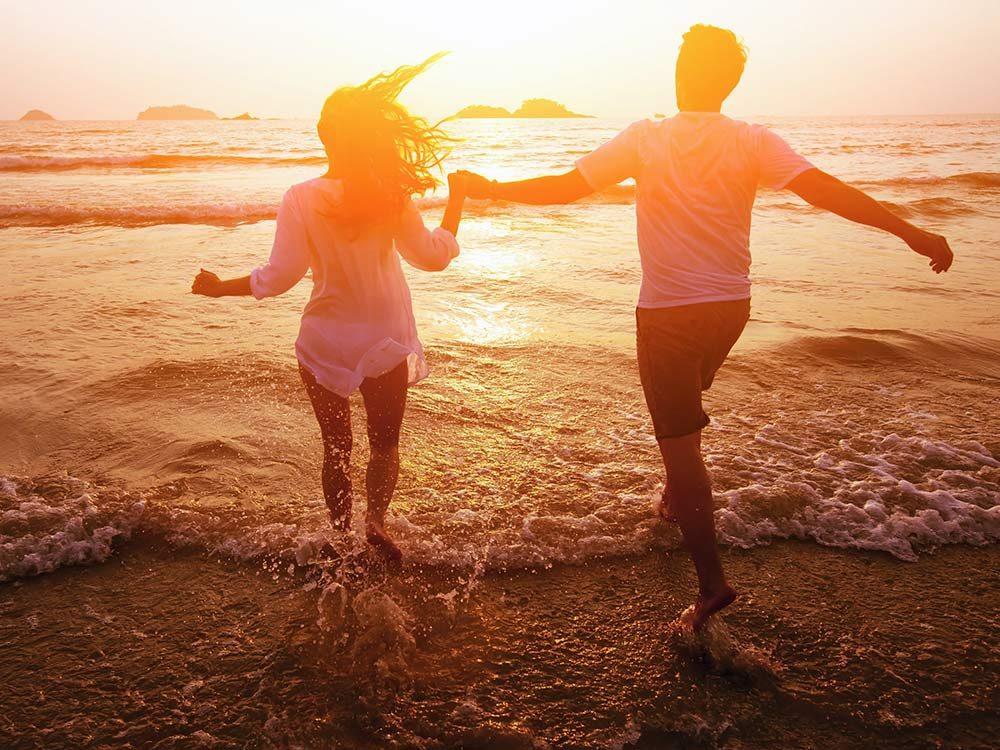 Couple on sunny beach