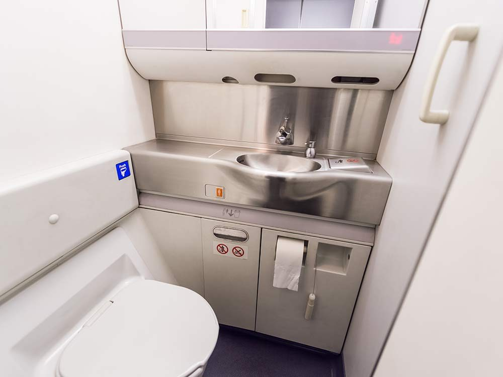Airplane bathroom interior