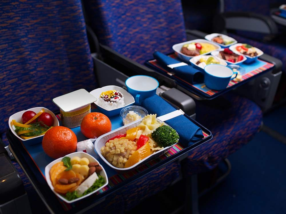 Airplane food in economy section of plane