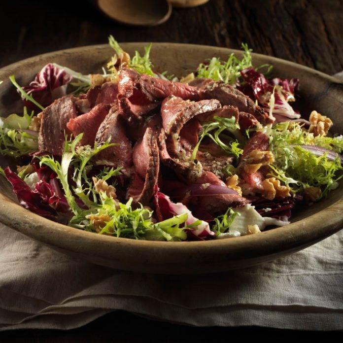 Beef with Baby Greens Salad and Horseradish Vinaigrette