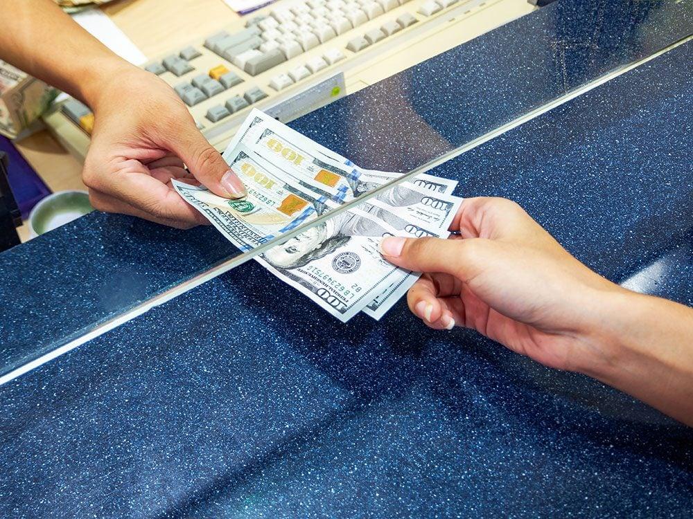 Airport money exchange