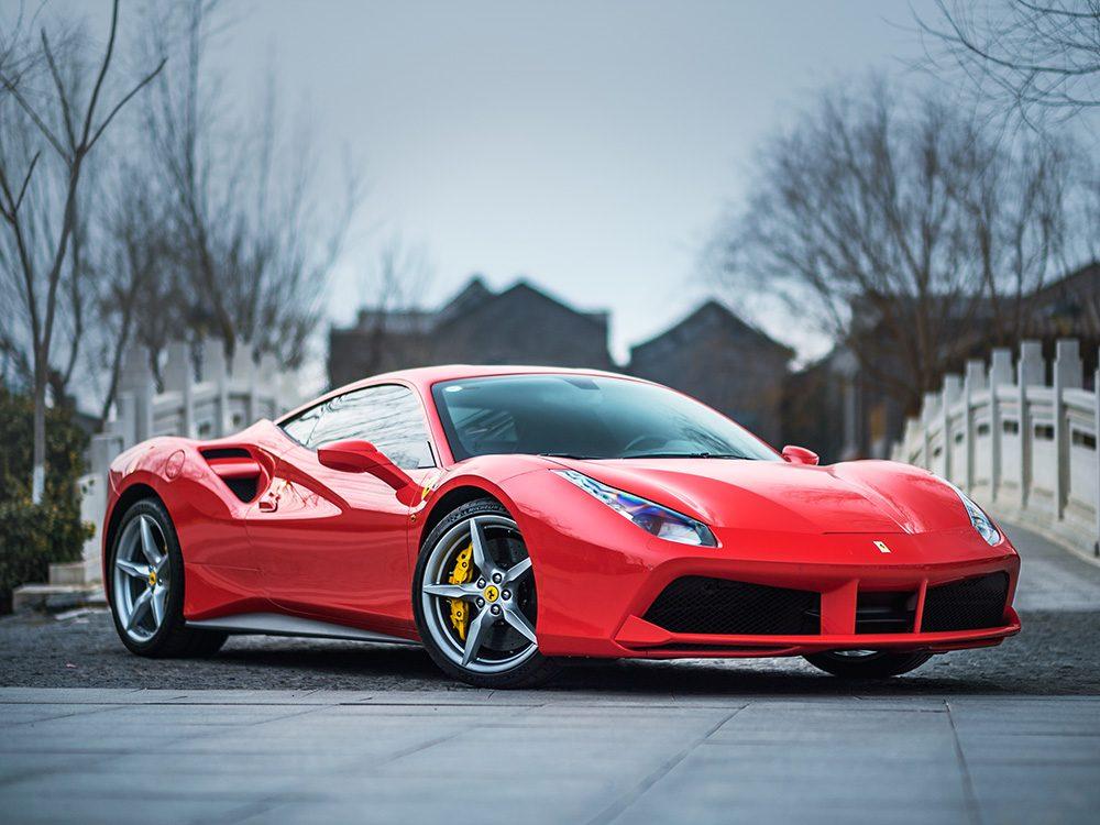 Red Ferrari racing car