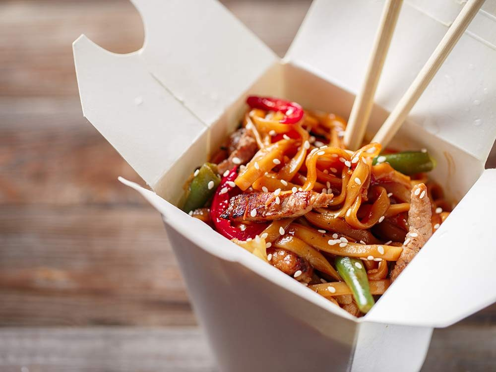 Chinese takeout box with noodles