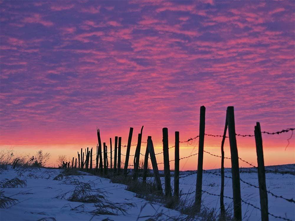 Sunset at winter in Saskatchewan