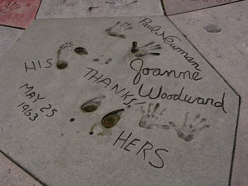 Paul Newman and Joanne Woodward handprints
