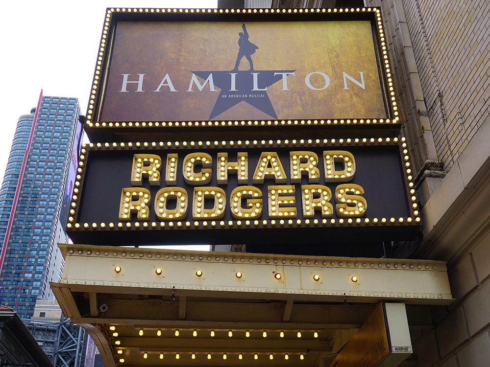 Hamilton sign on Broadway