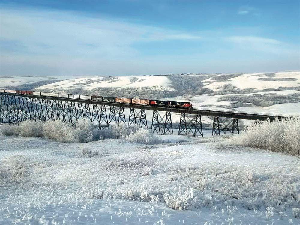 Train going over Fabyan Trestle Bridge
