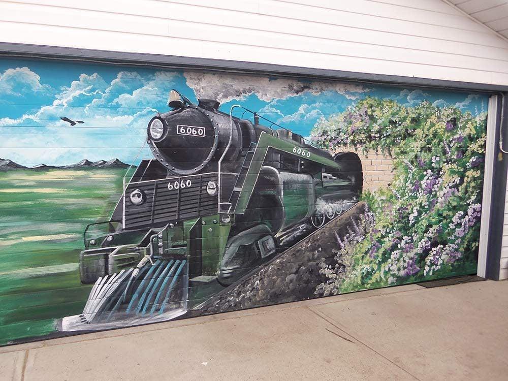 6060 steam train mural on garage door