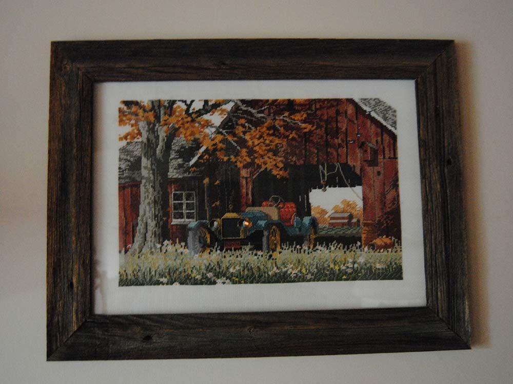 Framed cross-stitch pattern