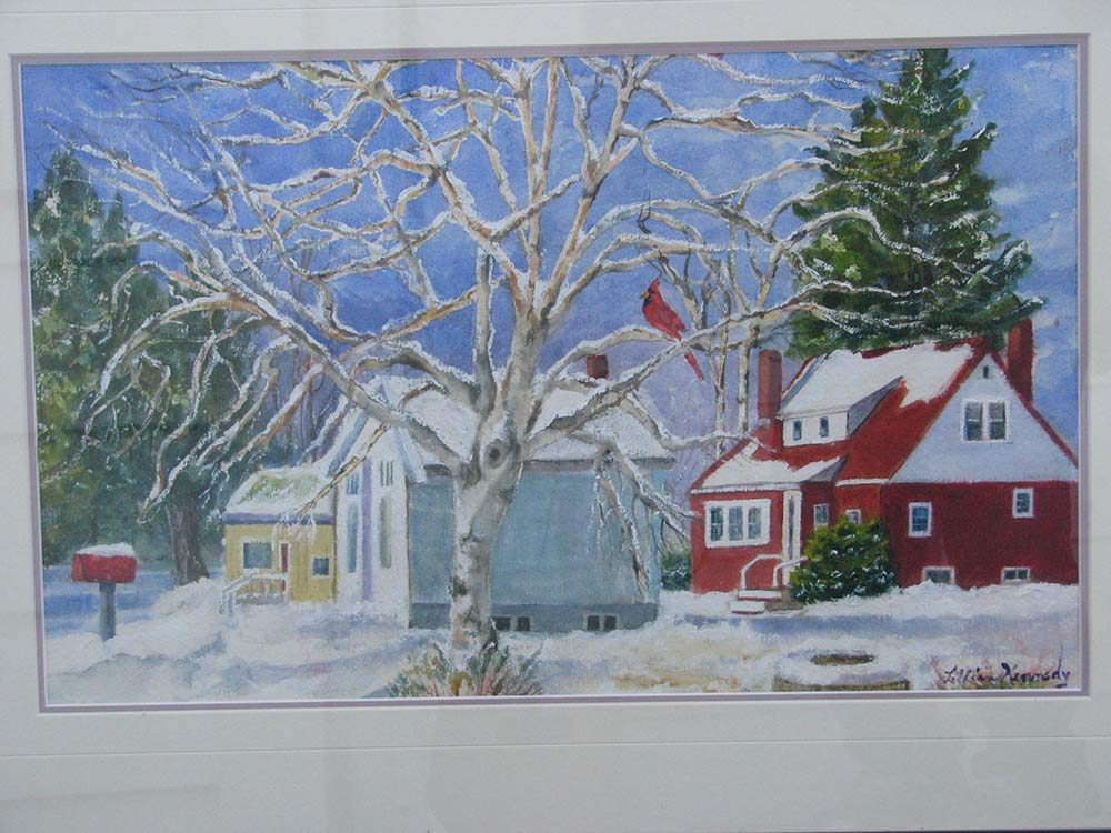 Watercolour portrait of winter landscape