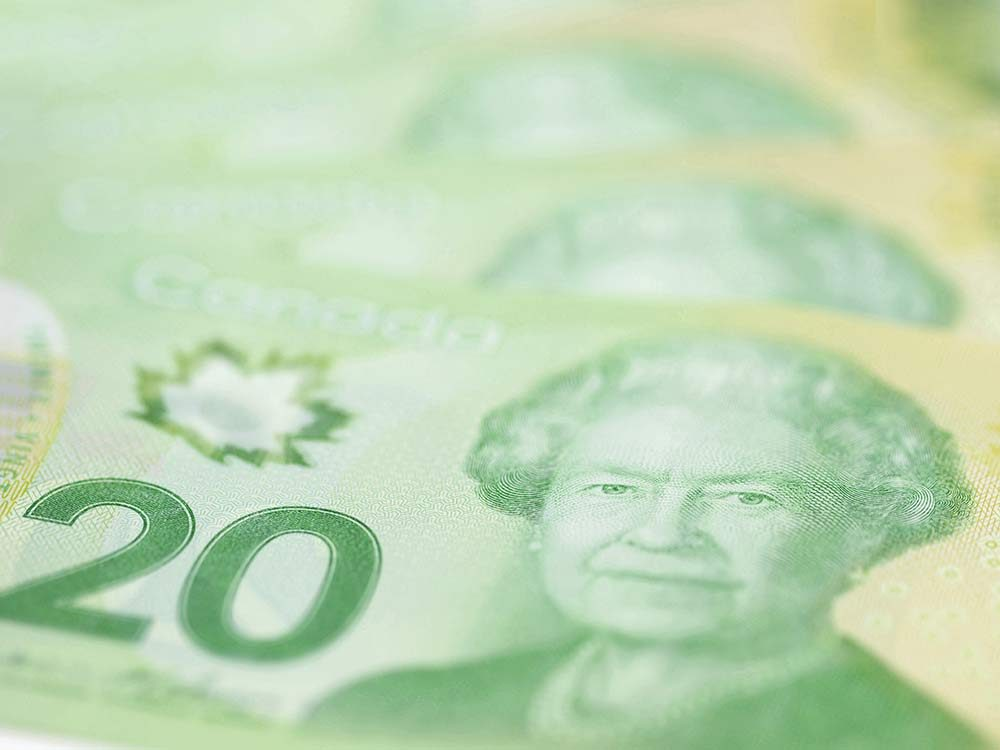 Twenty dollar Canadian bills