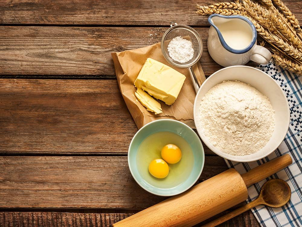 Ingredients for baking, including eggs and flour
