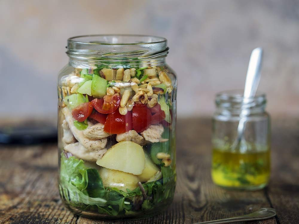 Chopped healthy salad in mason jar