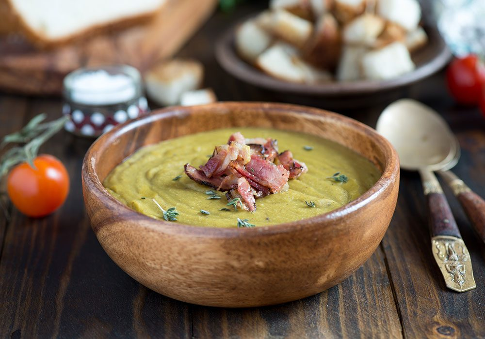 Split-pea soup with Canadian bacon garnish