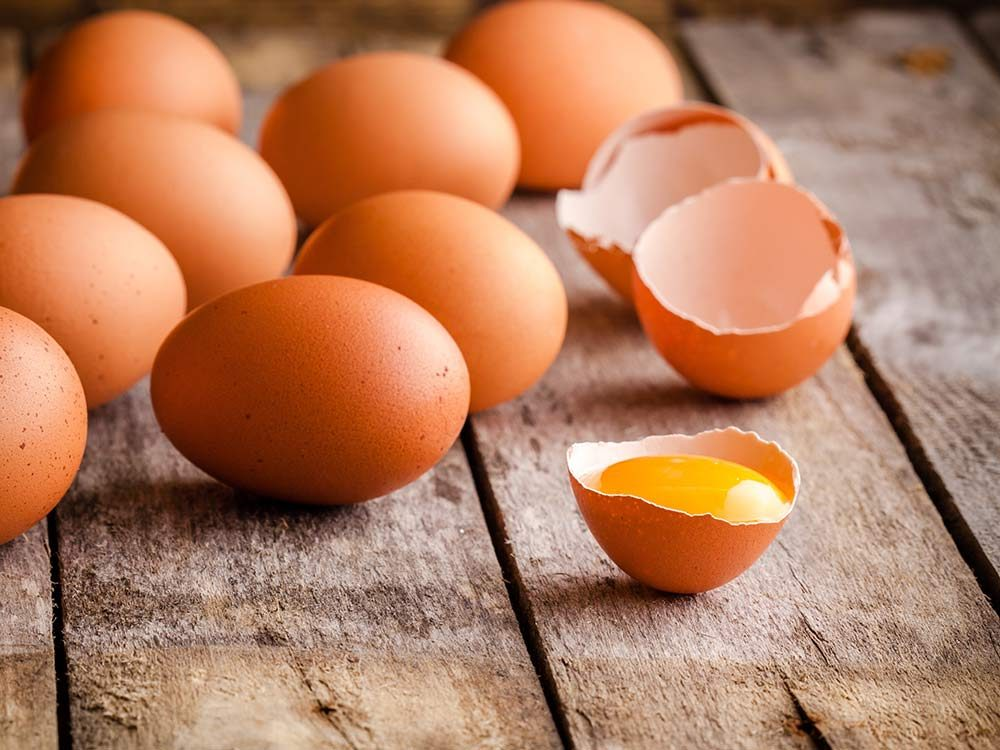 Eggs on rustic table