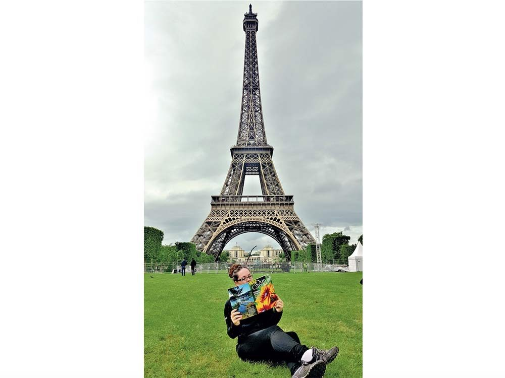 Our Canada reader poses in Paris, France