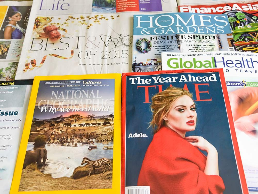 Magazine covers, including Adele
