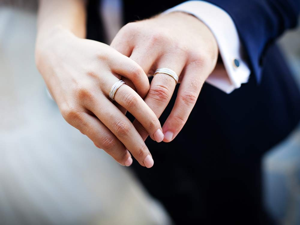 Close-up of bride and groom's wedding rings