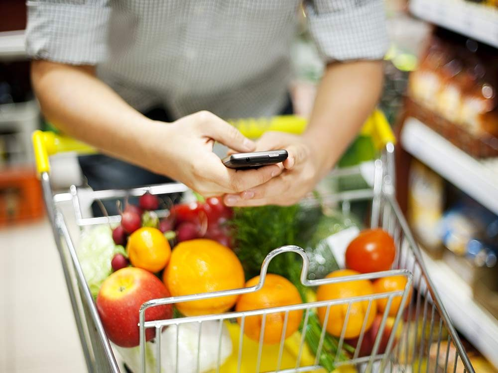 Using smartphone to shop for groceries