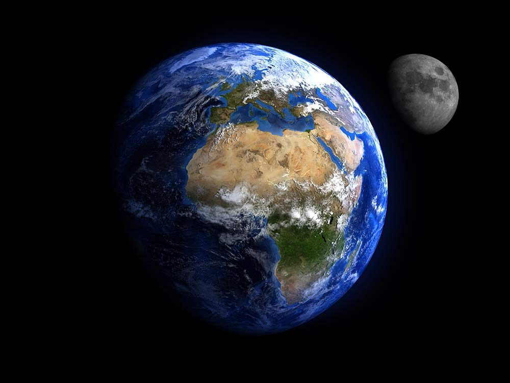 Planet Earth with moon in the background