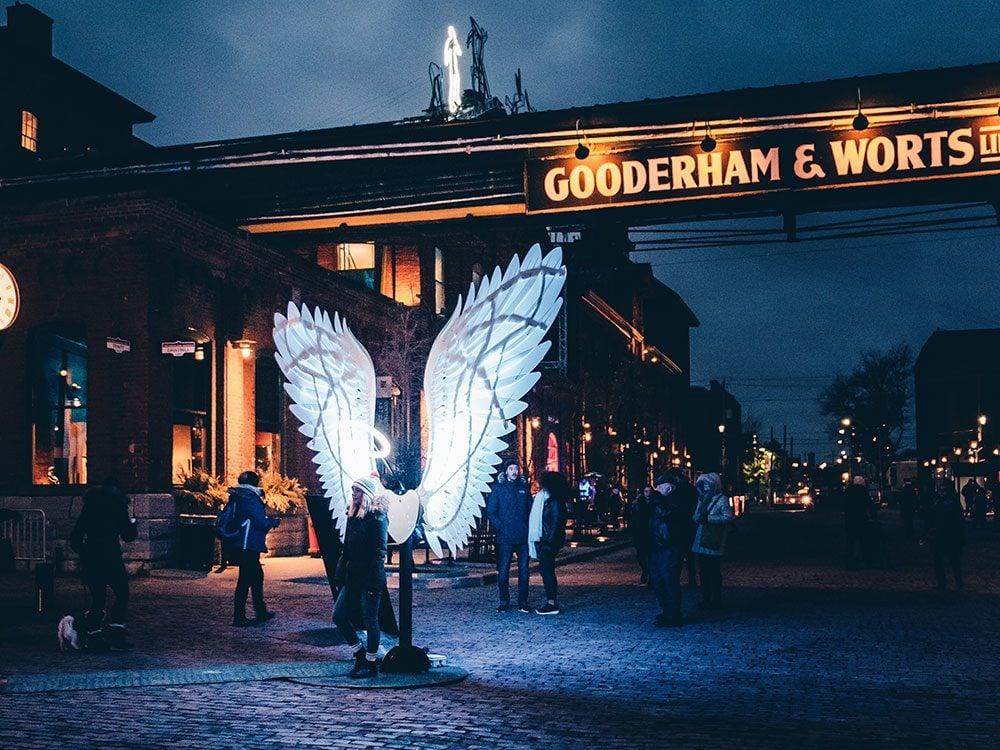 Angels of Freedom installation at Toronto Light Festival