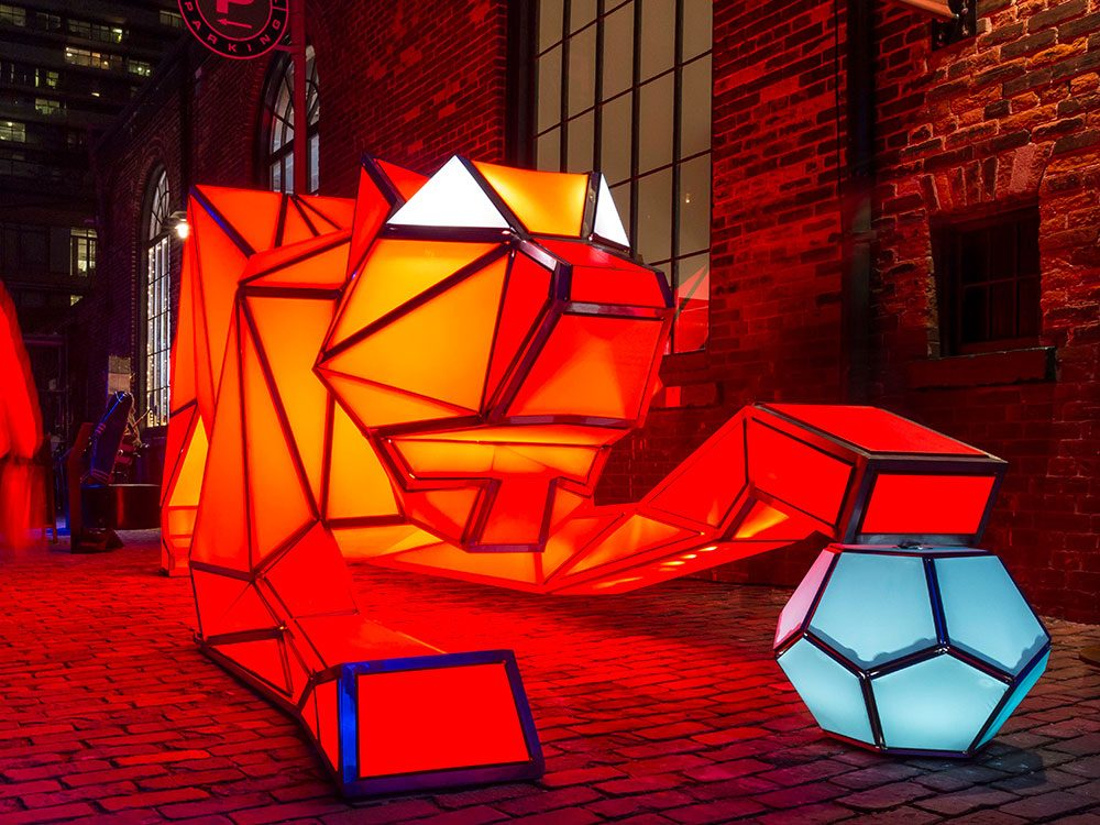 Digital Origami Tigers at Toronto Light Festival