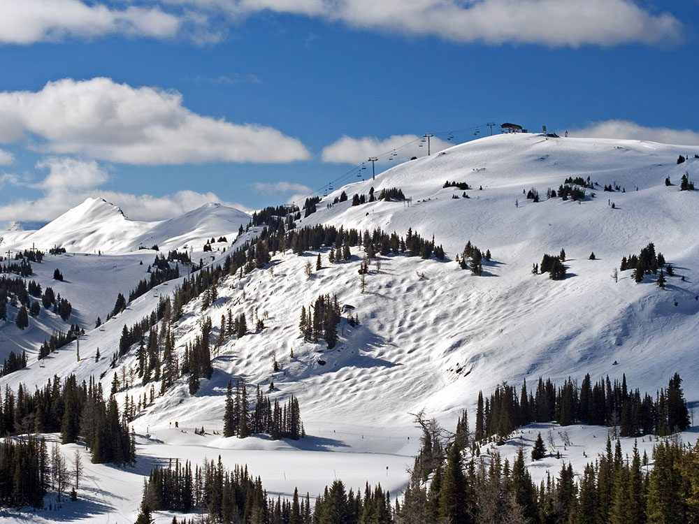 Skiing mountain in Alberta