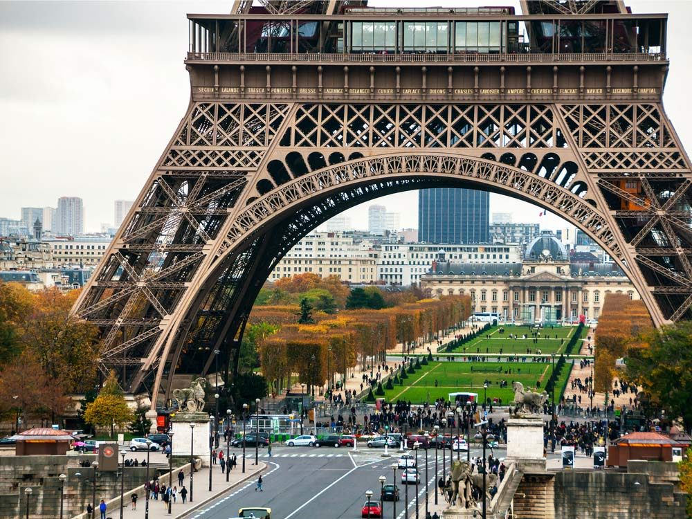 Eiffel Tower and Champs de Mars in Paris, France