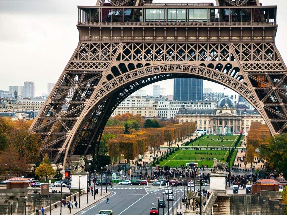 Eiffel Tower and Champs de Mars in Paris, France