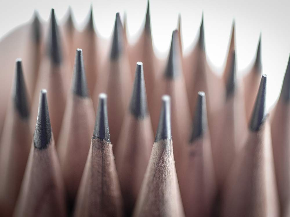 Close-up of pencil tips